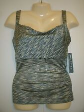 TOP SIZE EXTRA SMALL XS GREEN & BLACK BY NINE WEST- NEW WITH TAG - RETAIL $39!