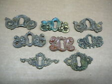 LOT of 8 ANTIQUE ORNATE STAMPED BRASS KEYHOLE COVERS ESCUTCHEONS MIXED -  #14