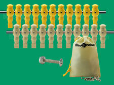 "11 Yellow/11 Tan Robotic Tournament Soccer Foosball Men - 5/8"" Rod + Screws/Nuts"