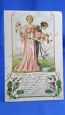 cpa fantaisie illustrateur muses fleurs guirlande elegante tuck