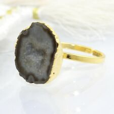 Zj7891 Sale New Fashion Brown Geode Druzy Gold Plated Handmade Adjustable Ring