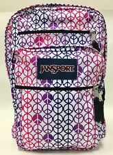 NEW Jansport Big Student Purple Slick Pink Peace Sign White Backpack Bag w/ Tags
