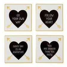 Conjunto de 4 Posavasos Inspirador Citar mensaje de frase Corazón Diseño De Cerámica Chic Regalo