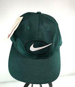 Vintage Men's Nike Green Black White Swoosh Oval Baseball Cap Hat NOS