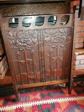 More details for liberty and co art nouveau leather and oak fire screen