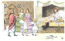 Postcard Elsa Beskow Kort NR 25 Fodelsedagen Family Brings Breafast in Bed W Cat