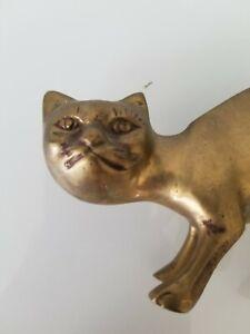 Vintage Mid Century Modern Brass Cat Figurine - Used