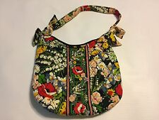 Vera Bradley Poppy Fields Retired 2011 Small Purse Handbag Quilted Floral Black