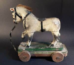 Antique 1930s Child's Pull-Along Wooden Horse with Gesso-Paint Coat. To Restore