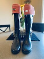Womens Hunter Boots Refined Tall Rainboot New Slate Gray Size 9