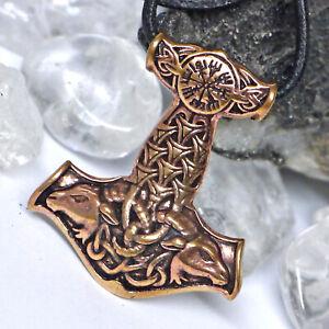 schöner Thorhammer Widderkopf Bronze Germanen Wikinger Kompass Thorshammer +Band