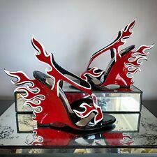 PRADA 2012 Patent Leather Flame Heels Sandals Red, Black white NEW W/ BOX SZ 37