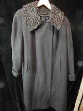"""Women's Kapmoor New York Solid Black 2 Button Coat w/ Lambswool Collar; 40"""" Long"""