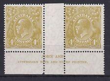 G326) Australia 1927 4dGreenish Olive KGV Sml. Multi. Wmk perf. 14, Ash imprint