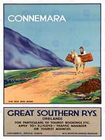 TRAVEL CONNEMARA IRELAND OLD BOG ROAD HORSE RAIL ART PRINT POSTER BB7482B