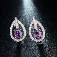 New Silver Plated Purple Amethyst & Crystal CZ Leverback Huggie Hoop Earrings
