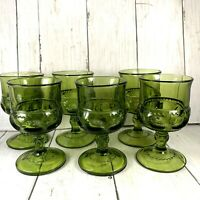 Set of 6 Kings Crown Indiana Glass Green Thumbprint Cordial Juice Goblets 1 Flaw