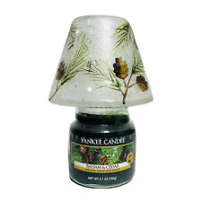 Yankee Candle & Painted Crackle Glass Shade Balsam & Cedar 3.7 oz Holiday Topper