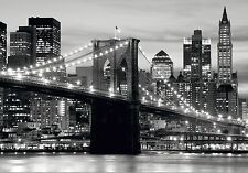 BROOKLYN BRIDGE MANHATTAN Photo Wallpaper Wall Mural NY BLACK & WHITE 360x254cm