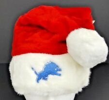 Detroit Lions Plush Santa Hat Red w/ Embroidered Logo NFL Licensed NWT