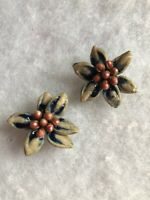 1950s Clip On Earrings Painted Seeds Floral Flower Jewellery Jewelry Vintage Old