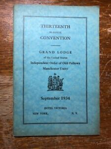 1934 13th Convention of Odd Fellows Manchest Unity Masonic Ephemera Book