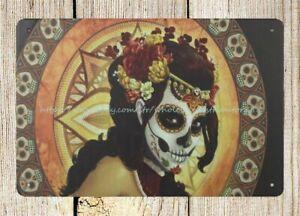 indoor wall decor sugar skull Mexico day of dead metal tin sign