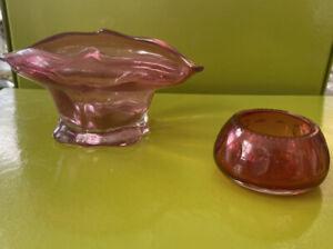 Two Antique Cranberry Glass Bowls