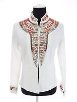Chico's 0 Sz S White Embellished Beaded Jeweled Denim Jacket Aztec Tribal Womens