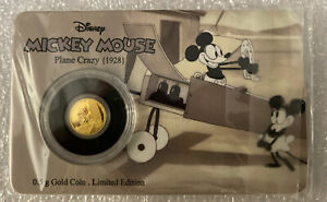 Mickey Mouse 0.5g Gold Coin (2016). Niue 🇳🇺 Plane Crazy (1928)