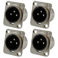 XLR Male Jack 3 Pin - Panel Mount Jacks D Series Size XLR-M - 4 PACK L1C2
