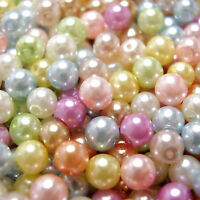 500 4mm or 300 6mm Mixed Pastel Colours Round Glass Pearl Beads