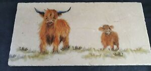 Kate of Kensington Highland Cow Natural marble stone Sharing Platter 40 x 20 cm