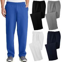 Mens Sweatpants Open Bottom with POCKETS Classic Comfort Sizes S, M, L, XL, NEW