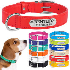 Custom Dog Collars Personalized Leather Dog Collar Engraved ID Tag Small Large