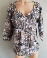 BNWT Womens Sz 14 Rivers Brand Regular Fit Taupe//Stripe Long Sleeve Shirt RRP$30