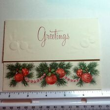A711- Vintage Xmas Greeting Card Red Holiday Ornaments Embossed In Gold