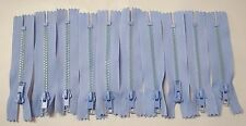 "10 - 4"" Ligth Sky Blue #5 Closed End Zippers Plastic Teeth Lot #50"