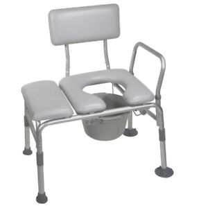 Drive 12005KDC-1 Padded Seat Transfer Bench with Commode Opening