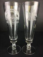 """Vintage Budweiser Clydsdales Anheuser-Busch Pilsner Beer Stemmed Glasses 8.5"""""""