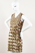 Naeem Khan Gold Bronze Sequin Embellished & Rhinestone Bib SL Dress SZ 4
