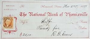 US 2 CENTS INTERNAL REVENUE STAMP ON BANK CHEQUE 1871