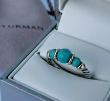 David Yurman - Turquoise Bead Cable Ring with 18K Gold - size 5 1/2 - Stunning!