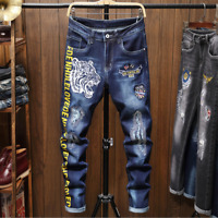 Men's Tiger Jeans Pants Long Stretch Fit Printed Letters Comfy Casual Trousers Y