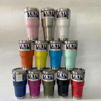 YETI 30oz Rambler Tumbler Stainless Steel Tumbler Cup with Clear Lid US Seller