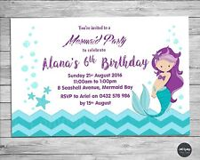 MERMAID PERSONALISED INVITATIONS CARDS PHOTO INVITES BIRTHDAY PARTY SUPPLIES