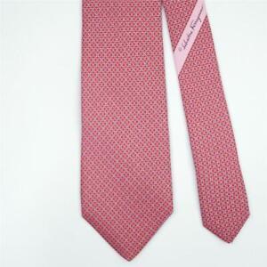 SALVATORE FERRAGAMO TIE Gancini on Red Skinny Silk Necktie