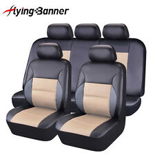 Car Seat Covers Set FLYING BANNER PU Leather mesh Universal fit breathable beige