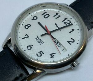 Timex Indiglo Mens 30m Silver Analog Quartz Watch Hours~Day Date~New Battery