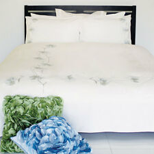 Doona or Quilt Cover Queen Pure Cotton Grey Green Embroidery